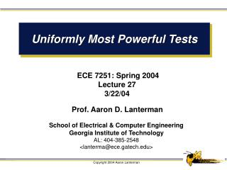 Uniformly Most Powerful Tests