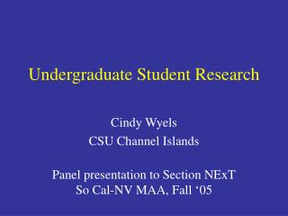 Undergraduate Student Research