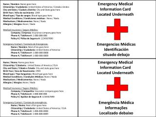 Emergency Medical Information Card Located Underneath