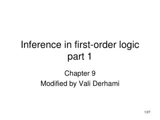Inference in first-order logic part 1