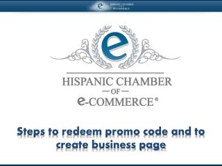 Steps to redeem promo code and to create business page