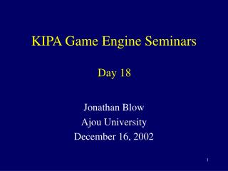 KIPA Game Engine Seminars