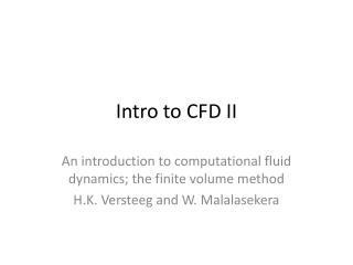 Intro to  CFD II