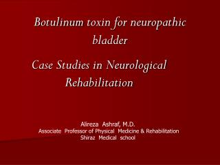 Botulinum  toxin for neuropathic bladder