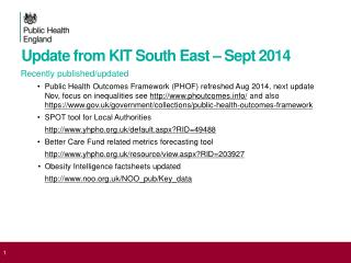 Update from KIT South East – Sept 2014