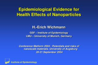 Epidemiological Evidence for Health Effects of Nanoparticles