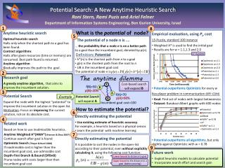 Potential Search: A New Anytime Heuristic Search Roni Stern, Rami Puzis  and  Ariel Felner