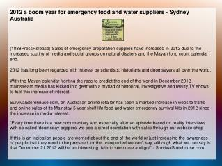2012 a boom year for emergency food and water suppliers - Sy