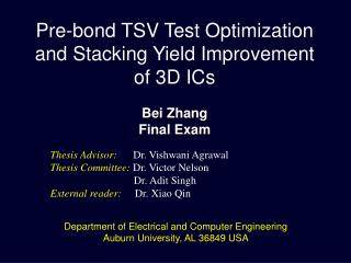 Pre-bond TSV Test Optimization and Stacking Yield Improvement  of 3D ICs Bei  Zhang Final Exam