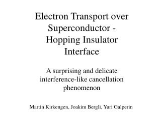 Electron Transport over  Superconductor - Hopping Insulator  Interface