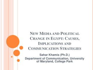 New Media and Political Change in Egypt: Causes, Implications and Communication Strategies