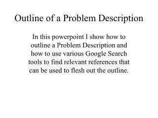 Outline of a Problem Description