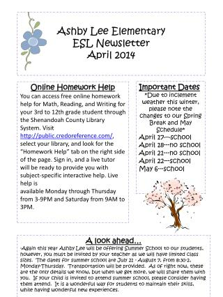 Ashby Lee Elementary  ESL Newsletter April  2014