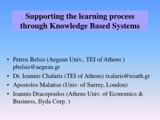 Supporting the learning process through Knowledge Based Systems