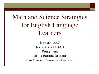 Math and Science Strategies for English Language Learners