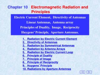 Chapter 10    Electromagnetic Radiation and                        Principles
