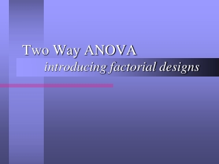 Two-way ANOVA and Factorial Designs