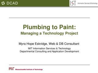 Plumbing to Paint: Managing a Technology Project