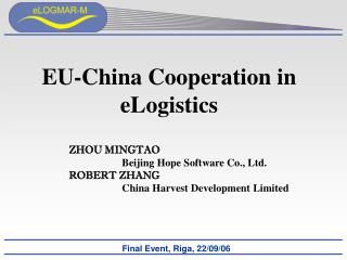 EU-China Cooperation in eLogistics