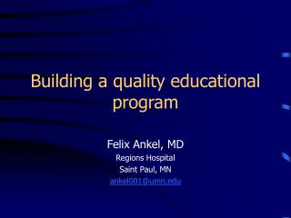 Building a quality educational program