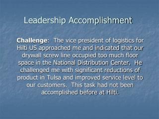 Leadership Accomplishment
