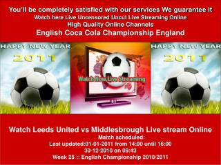 Leeds United vs Middlesbrough LIVE STREAM ONLINE