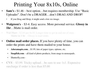 Printing Your 8x10s, Online