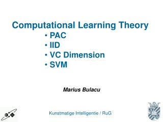 Computational Learning Theory  PAC  IID  VC Dimension  SVM