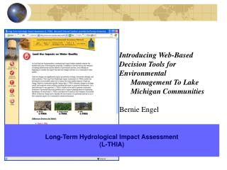 Introducing Web-Based Decision Tools for Environmental  Management To Lake Michigan Communities