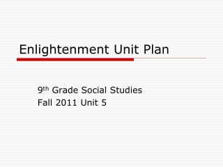 Enlightenment Unit Plan