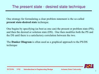 The present state - desired state technique