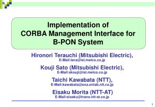 Implementation of  CORBA Management Interface for B-PON System