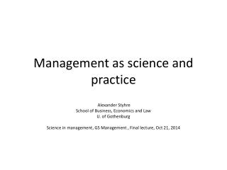 Management as science and  practice