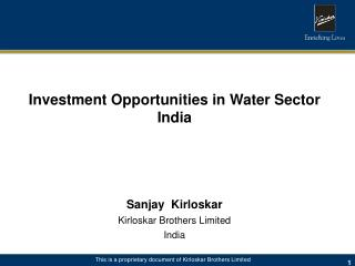 Investment Opportunities in Water Sector  India Sanjay  Kirloskar Kirloskar Brothers Limited India
