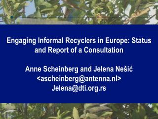 Engaging Informal Recyclers in Europe: Status and Report of a Consultation