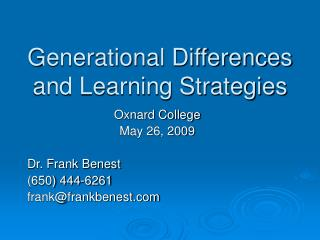 Generational Differences and Learning Strategies