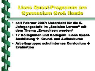 Lions Quest-Programm am  Gymnasium Groß Ilsede