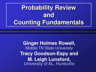 Probability Review  and  Counting Fundamentals