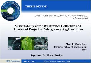 Sustainability of the Wastewater Collection and Treatment Project in Zalaegerszeg Agglomeration