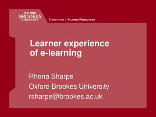 Learner experience of e-learning