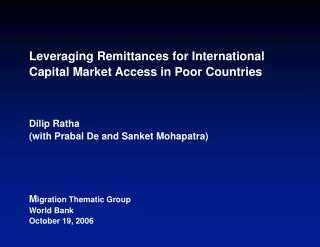 Leveraging Remittances for International Capital Market Access in Poor Countries    Dilip Ratha with Prabal De and Sanke
