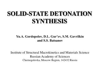SOLID-STATE DETONATION SYNTHESIS