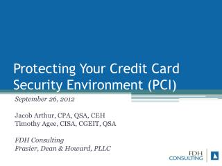 Protecting Your Credit Card Security Environment (PCI)
