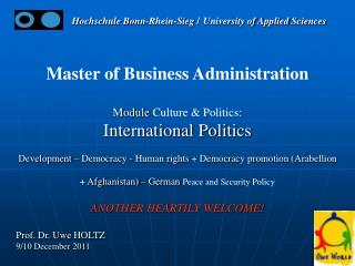 Master of Business Administration Module  Culture & Politics: International Politics