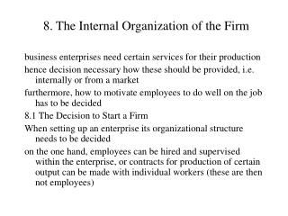 8. The Internal Organization of the Firm