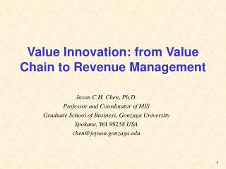 Value Innovation: from Value Chain to Revenue Management