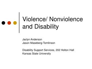 Violence/ Nonviolence and Disability