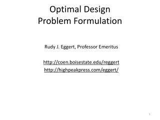 Optimal Design Problem Formulation