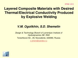 Layered Composite Materials with Desired Thermal/Electrical Conductivity Produced by Explosive Welding