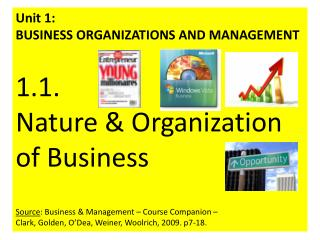 Unit 1:  BUSINESS ORGANIZATIONS AND MANAGEMENT  1.1.  Nature & Organization of Business